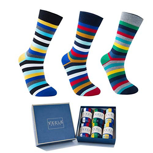 Vkele 6 Paar einfarbig Socken in Geschenkverpackung, kariert, bunt, punkte, gestreift, Business Herrensocken, Baumwolle, Crew Socken, Gr. 39-46, Gestreift (6 Paar), 43-46
