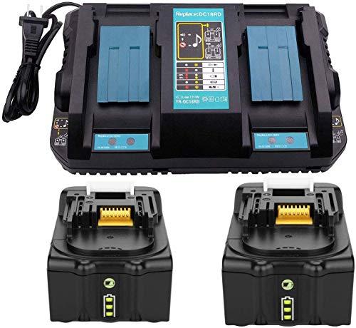 2x Ersatz 18V 6.0Ah BL1860 B Ersatzakku mit Ladegerät DC18RD 2-fach Dual Schnellladegerät für Makita BL1830 BL1850 BL1860, Makita Radio DMR100, DMR104 DMR108 DUC353Z DUC303 DUR364LZ DUR361UZ DUR365UZ