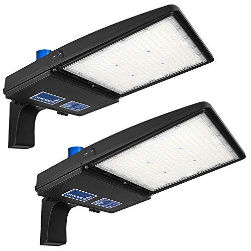 Hyperikon 300W LED Parking Lot Lights with Photocell, Shoebox Pole Street Light 100-277V, 5700K, MH Replacement, DLC, ETL, 2 Pack