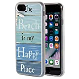 iPhone 7 Case,The Beach is My Happy Place Pattern Anti-Scratch Shock Proof Clear TPU and PC Protection Case Cover for iPhone 7 4.7'