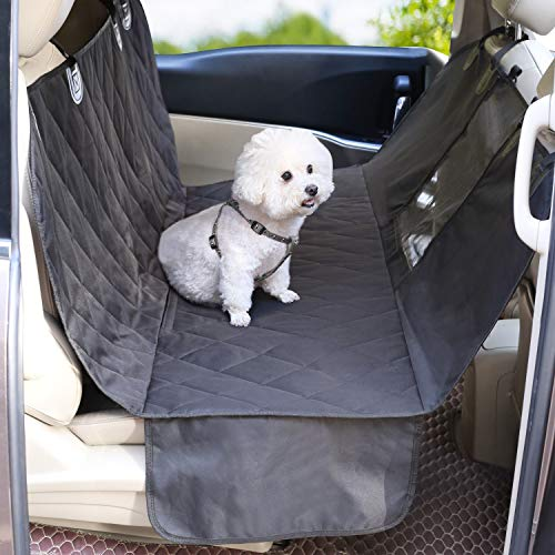 VIVAGLORY Dog Car Seat Cover with Mesh Visual Window, Heavy Duty & Waterproof Pet Car Seat Cover with Side Flaps, Universal fit for Most Cars, Black L
