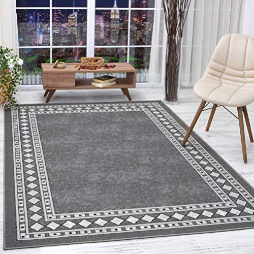 Antep Rugs Alfombras Modern Bordered 8x10 Non-Skid (Non-Slip) Low Profile Pile Rubber Backing Indoor Area Rugs (Gray, 8' x 10'3')