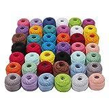 Häkelgarn aus Baumwolle - 42 Rollen Häkelfaden mit 2 Pcs Häkelnadeln - Baumwollgarn zum Häkeln - Baumwollfaden für Muster -
