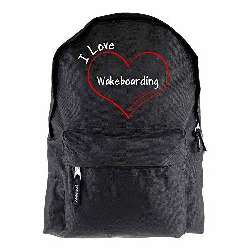Rugzak modern I Love Wakeboarding zwart - grappig grappig spreuken party tas