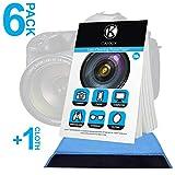 Camkix Linsenreinigungspapier 6x Heftchen / 300 Blatt + Doppelseitiges Reinigungstuch - Linsenreinigungspapier für Verwendung mit Kameraobjektiven - Doppelseitiges Reinigungstuch für die...