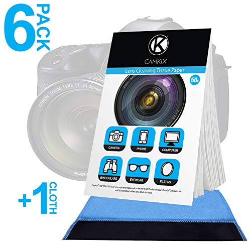 Camkix Lens Cleaning Paper Tissue 6X booklets/300 Sheets + Double Sided Cleaning Cloth - Lens Cleaning Paper for Use on Camera Lenses - Double-Sided Cleaning Cloth for Use on Electronic Screens