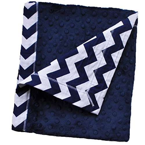 Fantastic Prices! Cozy Wozy Chevron Print Cotton and Minky Baby Blanket with Mitered Corners, Navy B...