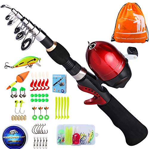 Kids Fishing Pole with Spincast Reel Telescopic Fishing Rod Combo Full Kits for Boys, Girls, and Adults-Black