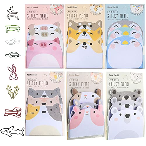 6 Pieces Cartoon Animal Stick Notes Cute Self-Stick Animal Notes Removable Animal Memo Pads with 8 Animal Shaped Paper Clips for Kids Students Teachers Pet Lover, Home School Office Supplies