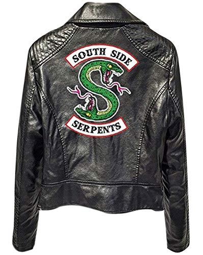Yesgirl Riverdale Southside Serpents Damen Mädchen Mode Biker Lederjacke Coole Pullover Frauen Slim Fit Sweatshirt Bauchfreier Pulli Kurz Crop Tops Oberteile Langarmshirts (L, Schwarz A)