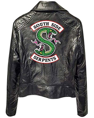 Yesgirl Giacca Riverdale Serpents in Pelle Giacca Donna Invernali Elegante Riverdale Southside Serpents Faux Leather Jacket Black Cappotto Giacca da Donna Ragazza Noir A Medium