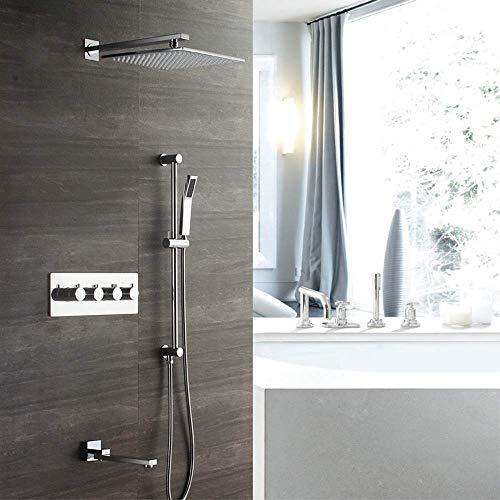 FYYONG Hogar de pared de 30 cm cuadrado de la ducha termostática de cobre grifo de la ducha Booster Top spray de plata Ducha Sistema Modos 3 Hermosa práctica