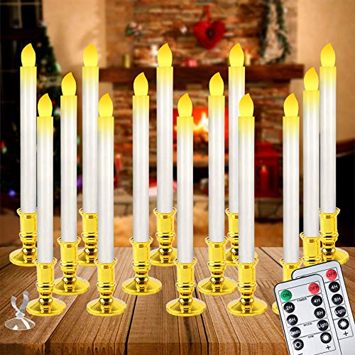 Christmas Window Candles Lights,14 Pack Battery Operated Flameless Taper Candles with 2 Remote Control and Timer,Removable Golden Holder, Suction Cup for Seasonal & Festival Home Decor,Warm White,10'