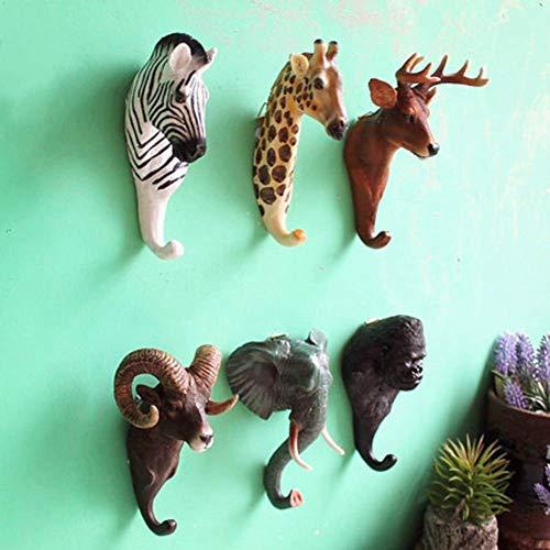 Animal Head Single Wall Hook, Percha Escultura de Pared con Forma de Animal Decoración Vintage Escultura de Estatua de Arte Adornos de Arte Decoración de Pared Hecho a Mano-orangután 9x15cm