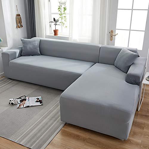 Funda de sofá elástica de color liso, color gris, funda elástica para sofá de 2 piezas, funda para sofá de estilo L, funda para sofá (color: gris claro, especificación: 2 plazas 145 185 cm)