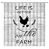 MNSC Farmhouse Shower Curtain Rustic Country Chicken Sweet Farm Animals Vintage Wood Boards Barn Wooden Western Funny Quote Village Life Retro Decor Bathroom Curtain Fabric 70X70Inch with Hooks