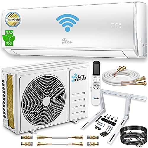 Climatizzatore split Quick Connector 12000BTU Climatizzatore Inverter 12000BTU Climatizzatore R32 3,4 kW WLAN autopulente / 5 m tubo di rame WIFI LCD Titangold Set completo da parete App.