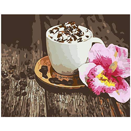 hdbklhjxk schilderen op nummers, doe-het-zelf koffie met roze bloem, borstvoeding, canvas, bruiloftsdecoratie, kunst, schilderij geschenk, 50 x 65 cm, niet ingelijst