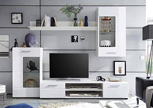 HBZ Anbauwand Shot Wohnwand Wohnzimmer Schrankwand Hochglanz Weiß TV/Wohnlösung