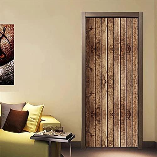 Etiqueta de la puerta Papel pintado retro con textura de madera, adecuado para la decoración del dormitorio de la sala de estar Decoración de pared de vinilo 3D impermeable Calcomanías interesantes