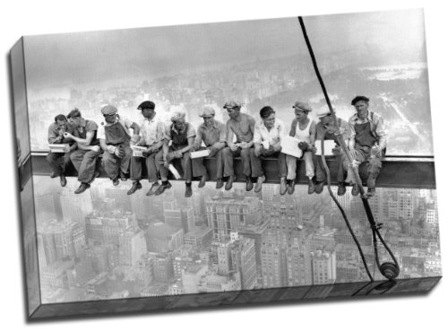 High Definition Lunch Atop A New York Skyscraper Cross Beam Girder Canvas Art Print 20x30 Inches A1 by Panther Print