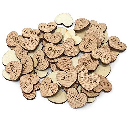 100 X It's a girl 15 mm cœurs en bois style shabby chic vintage craft Scrapbooking embellissements Confetti Cœur