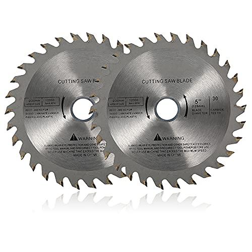 Maalr Hoja de sierra circular profesional para madera, 125 x 22 mm x 30/40 dientes TCT, para herramienta de corte para madera y amoladora angular (2 unidades, 30 T)