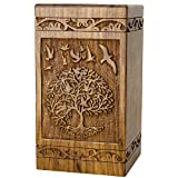 INTAJ Handmade Rosewood Urn for Human Ashes | Tree of Life Wooden Urns Hand-Crafted - Funeral Cremation Urn for Ashes (Bird Tree, Adult 250 Cu/in)