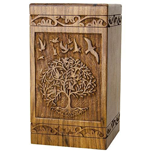 INTAJ Urna de madera de palisandro hecha a mano para cenizas humanas | Urnas de madera del árbol de la vida hechas a mano – Urna de cremación funeraria para cenizas