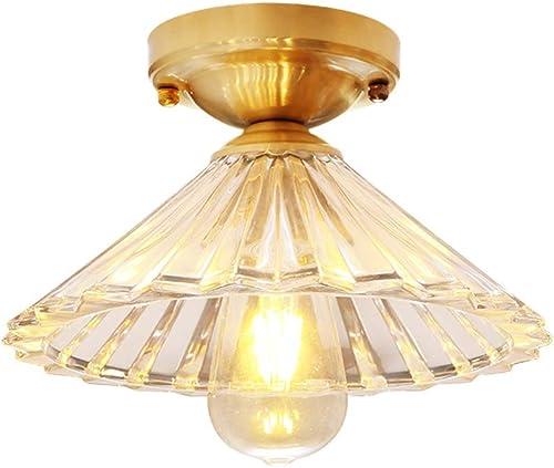 WPOLED 1-lumière européenne simple plafonnier en métal de cuivre LOFT E27 économie lampe lampe de plafond en verre balcon personnalité Creative Creative moderne patio Edison villa classique lustre ant