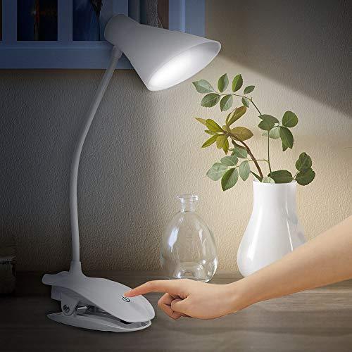 Ajcoflt Clip LED na luz de leitura Luz de livro com 3 níveis de brilho Lâmpada de leitura com controle de toque liso