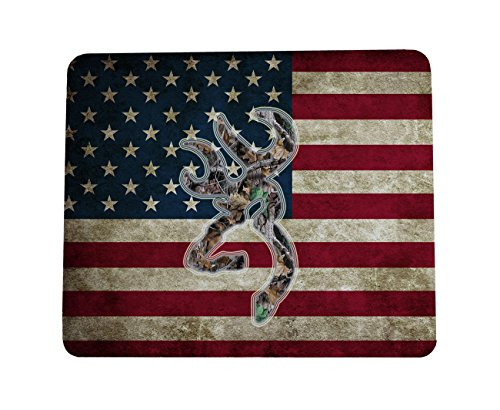 Custom Mouse Pad Browning Deer Camouflage American Flag for Non-Slip Rubber Mouse Pads Gaming Mouse Pad