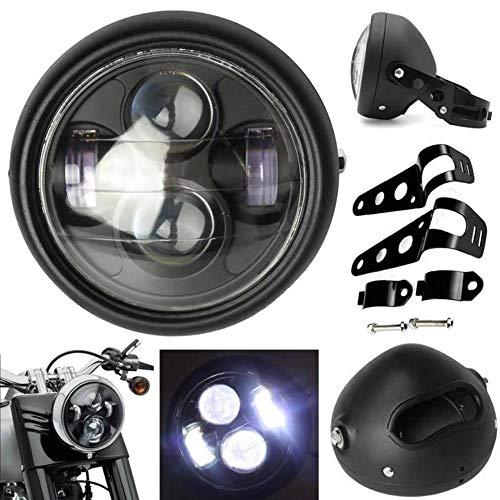 5-3/4 5,75 Zoll Motorrad Scheinwerfer Montage + Scheinwerfergehäuse + Satz von Halterungen Vintage Schwarz Metal für 12V Motorrad