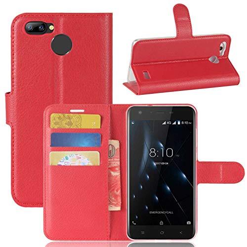 tinyue® Handyhülle für Blackview A7 Pro, PU-Ledertasche Flip Case Halterung, mit Kartenfach, Magnetschnalle Litschi Textur Leder Handy Hülle Stand Feature, Rot