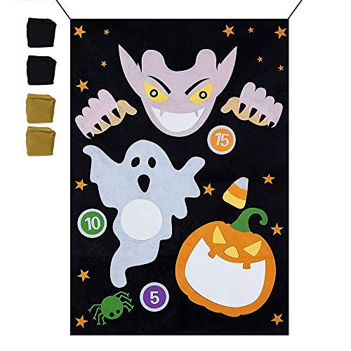 Evance Halloween Bean Bag Toss Games Set + 4pcs Bean Bagswith Gift Bag Halloween Indoor Outdoor Throwing Games for Kids Halloween Party Decoration (Set B)