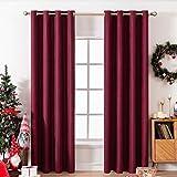 MIULEE - Cortina térmica de lino para oscurecimiento de la sala de estar, con ojales, con textura para ventana, opacas, para dormitorio, bloqueo de la luz, 1 panel