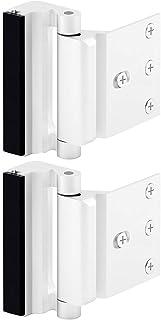 """Home Security Door Lock, Childproof Door Reinforcement Lock with 3"""" Stop Withstand 800 lbs for Inward Swinging Door, Upgrade Night Lock to Defend Your Home (White-2 Pack)"""