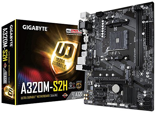 Gigabyte GAA32MS2H-00-G - Placa Base (A320m-S2h, AMD, Am4, A320, 2ddr4, 32gb, Vga+Dvi, Gblan, 4ata3, 4usb3.1, Matx)