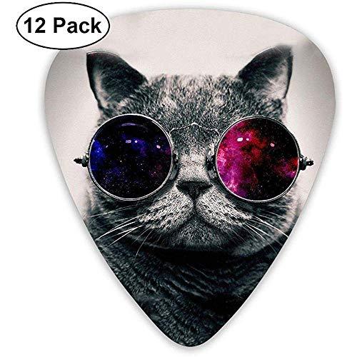 Gitarren Plektren Cool Galaxy Cat Choiceness Celluloid Plektrum Dünn Medium Heavy Bass Gedruckt Variety Pick Mini Music Gifts Grip -12st