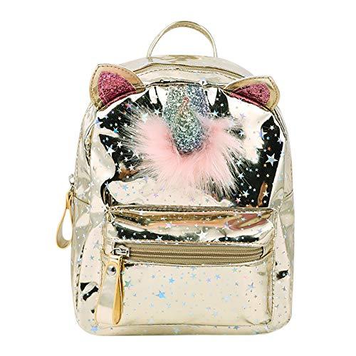 Cuddty Unicorn piccolo zaino per le ragazze dei bambini, PU Laser Star spalla borsa scuola casual zaino Oro Taglia unica