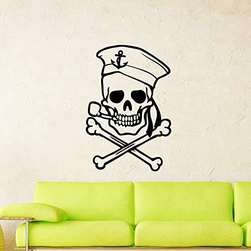 yaonuli Etiqueta engomada del cráneo del Marinero Etiqueta de la Muerte Nombre del Diablo Etiqueta de la Pared de la Ventana del Coche Mural Decorativo 63X103cm