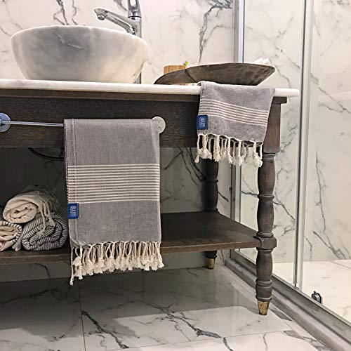 Buld&Co. Juego de Toallas turcas 100% algodón – Peshtemal Hammam baño Playa Toalla de Viaje – Absorbente Ligero Secado rápido Natural – 35