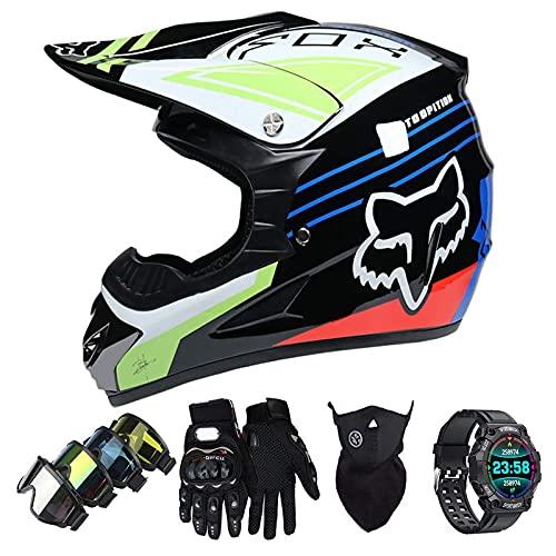 Casco Motocross Niño Set con Diseño FOX, Adulto y Juventud Integral Homologado Moto Cross Casco para Downhill ATV Enduro Off Road (Gafas+Máscara+Guantes+Reloj Inteligente) LXY-22