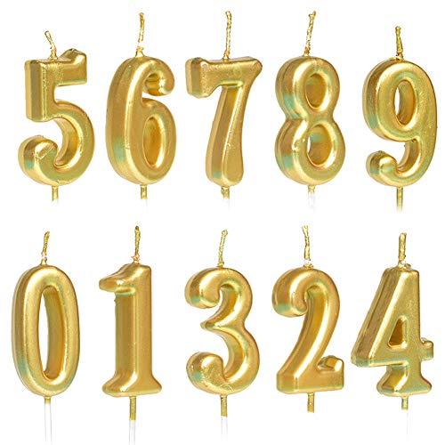 Lot de 10 bougies d anniversaire numérotées de 0 à 9 à paillettes pour décoration de gâteau d anniversaire, fête d anniversaire, célébration - Doré 1