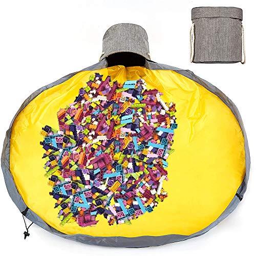 Kinder Aufräumsack mit Drawstring Spielzeug Aufbewahrungsbox mit Deckel Tragegriff, Baby Spieldecke Kinderspielzeug Aufbewahrungsbeutel für Kinderzimmer Outdoor Picknick (grau)