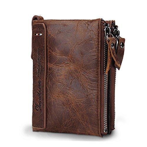 Herren Portemonnaie aus Rindleder Geldbörse Kreditkartenetui Bifold Brieftasche Vintage Geldbeutel