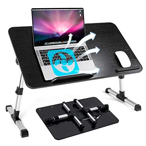 Labeol Adjustable Laptop Bed Table with Cooling Fan Ultra Large Foldable Laptop Desk Portable Laptop Tray Multifunction Lap Table for Eating Breakfast Reading Watching Movie on Bed Sofa (Large)