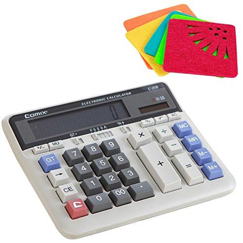 COMIX C-2135 Large Computer Keys Calculator 12 Figure (Give a Random Color Coasters)