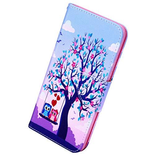 Herbests Kompatibel mit Samsung Galaxy Note 10 Plus Handy Hülle, 3D Bunt Retro Muster Ledertasche Männer Mädchen Schutzhülle Leder Tasche Lederhülle Flip Case Cover Ständer Kartenfach,Baum Eule