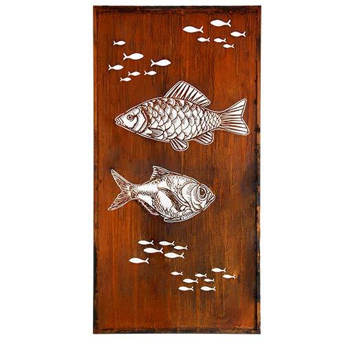 Fisch-Paravent1 mit Umrandung, Laser, Edelrost, Rost Deko, 100x200 cm